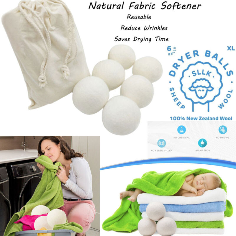 6-Pack Premium Wool Dryer Balls Natural Fabric Softener 6CM
