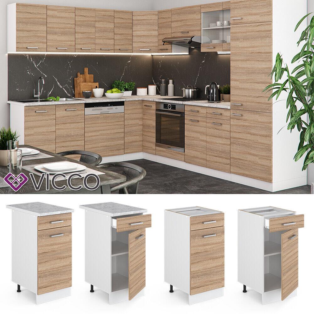 VICCO Küchenschrank Hängeschrank Unterschrank Küchenzeile R-Line Schubunterschrank 40 cm sonoma