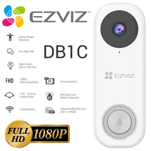 EZVIZ HD 1080p Smart Video Doorbell Wi-Fi Motion Security 2-Way Talk Door Bell