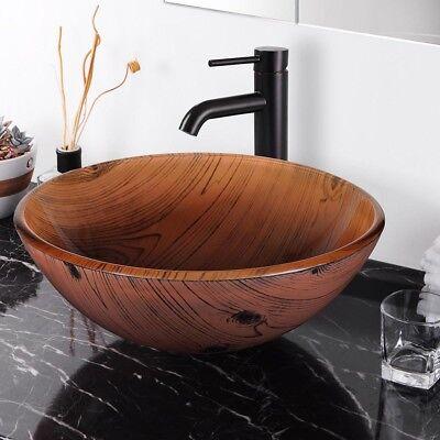 Bathroom Tempered Glass Round Vessel Sink Wood Grain Vanity Hotel Bowl Basin