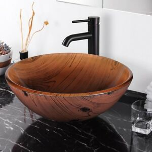 Bathroom Tempered Gl Round Vessel Sink Wood Grain Vanity Hotel Bowl Basin