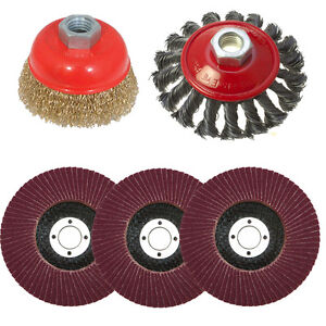 5-PACK-FLAP-DISC-TWIST-KNOT-SEMI-FLAT-WIRE-WHEEL-CUP-BRUSH-115MM-ANGLE-GRINDER