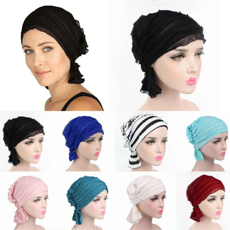 Ruffle Headwear Turban Cancer Chemo Hat Chiffon Scarf Beanie