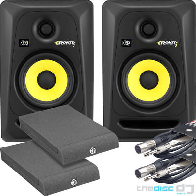"KRK Rokit 5 G3 RP5 Active Studio Monitors x 2 + ""FREE"" Isolation Pads & Leads"