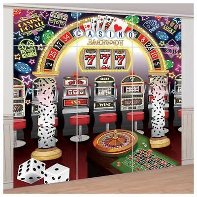 CASINO SCENE SETTER Party Wall Decoration Slot Machines Mega Jackpot Backdrop - Scene Setters Decorations