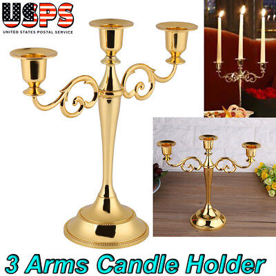 (3 Arms Metal Crafts Candelabra Alloy Candle Holder Stand Home Decoration Gold)