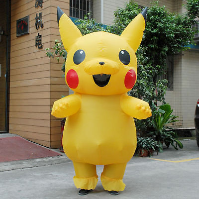 US SHIP Adult Mascot Pikachu Inflatable Costume Cosplay Halloween Funny Dress - Mascot Suit