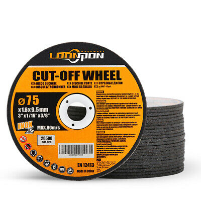3 Inch Metal Cutting Wheel Resin Disc Cut Off Blade For Metal 75x10x1.6mm 20pcs