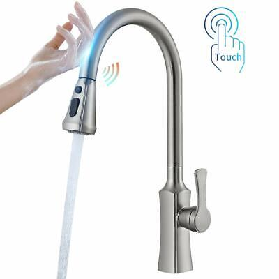 Sensor Touch Kitchen Sink Faucet Pull Out Sprayer Swivel Mixer Brushed Nickel