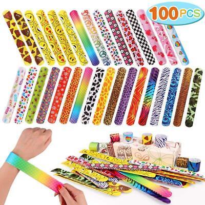 Toyssa 100 PCS Slap Bracelets Party Favors Colorful Hearts Emoji Animal Print  - Printed Glow Sticks