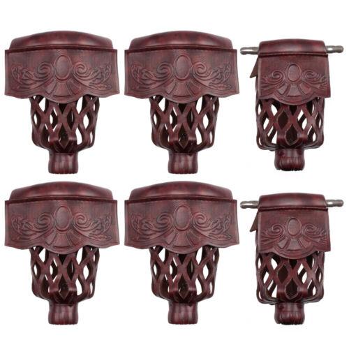 Set of 6 Heavy Duty Leather Billiard Pool Table Pockets - Dark Cherry Shield