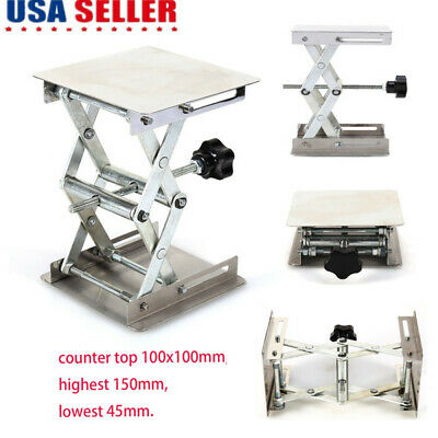 Lab Jack 100x100mm Scissor Stand Lifting Table Platforms Stainless Steel Rack US