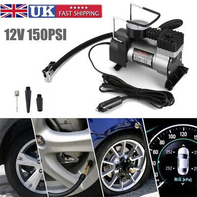 12V ELECTRIC CAR TYRE INFLATOR 150PSI AIR COMPRESSOR PUMP HEAVY DUTY PORTABLE UK