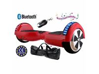 NEW - RED - 2 WHEELS SELF BALANCING SCOOTER BALANCE BOARD SEGWAY - BLUETOOTH + LED + REMOTE + BAG