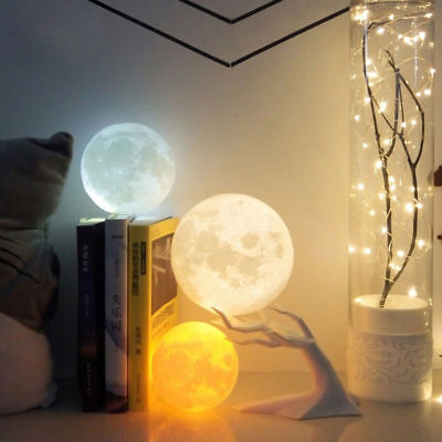 3D Printing Moon Night Light Table Lamp Usb Charging Home Decor Gift 3 Color 8Cm