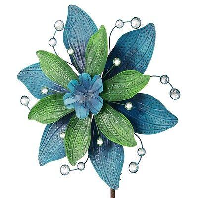 BELLA PONZA großes Windrad Windspiel Blume Metall 160 cm Ø 48 cm