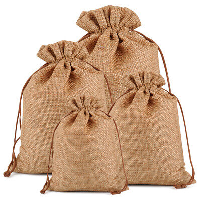 25/50/100 Burlap Favor Bag Hessian Drawstring Jute Sack Wedding Party Gift - Gift Sack