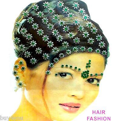 Bollywood Bindis Indisch Haarschmuck Kopfschmuck Strass Hochzeit Fasching grün