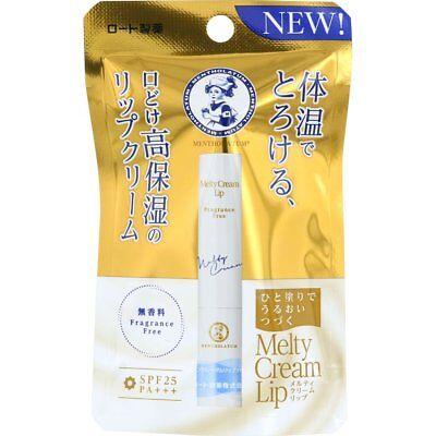 Rohto Japan Mentholatum MELTY CREAM LIP SPF25 PA+++ 2.4g - Fragrance Free