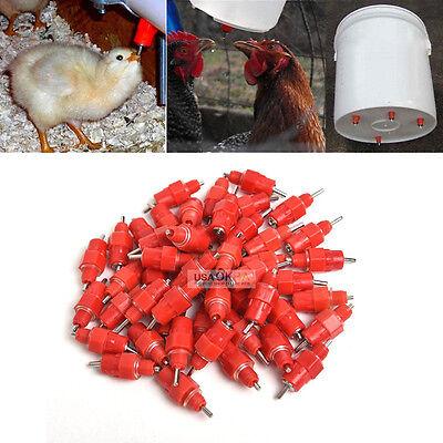 50Pcs Chicken Feeder Water Nipple Drinker Duck Hen Poultry 360� Screw in Style