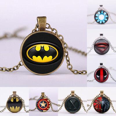 Superhero Batman X-Man Cabochon Glass Tibet Silver Chain Pendant Necklace gift