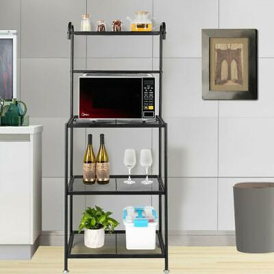4-Tier Microwave Oven Cart Bakers Rack Kitchen Storage Shelves Stand Metal