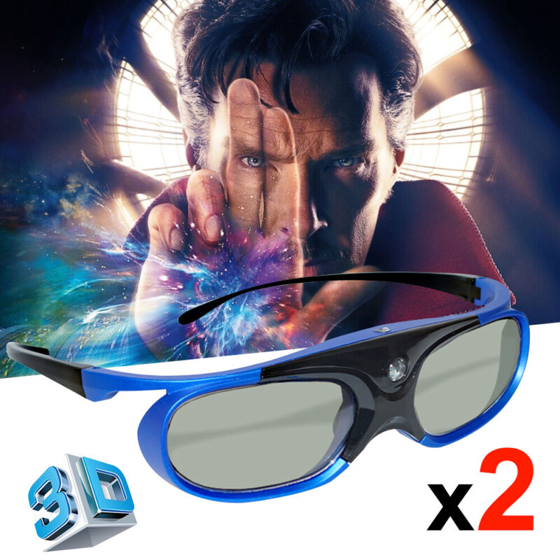 2x Active Shutter 3D Glasses For Optoma BenQ 3D DLP Projector USB Charge Light