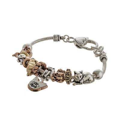 Cat Mom Silver / Gold / Rose Gold Toned Bracelet with Heart Shape Clasp Closure (Rose Gold Cat)