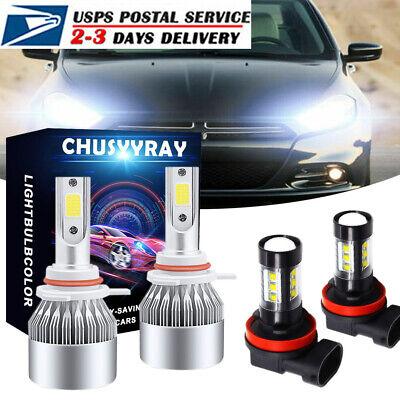 For Dodge Dart 2013 2014 2015 LED Headlight 6000K High & Low Beam Fog Bulbs Kit
