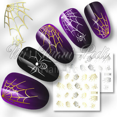 Nail Art Water Decals Stickers Transfers Gold/Silver Spiders Webs Halloween C001
