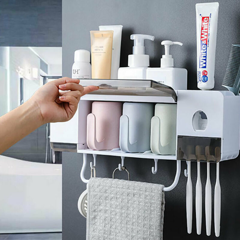 Bamboo Fiber Bathroom Toothbrush Holder Storage Rack