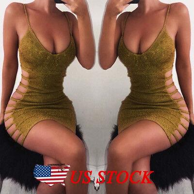 Ladies Gold Dresses (Women Sexy Bodycon Sleeveless Evening Party Cocktail Club Short Mini Dress)