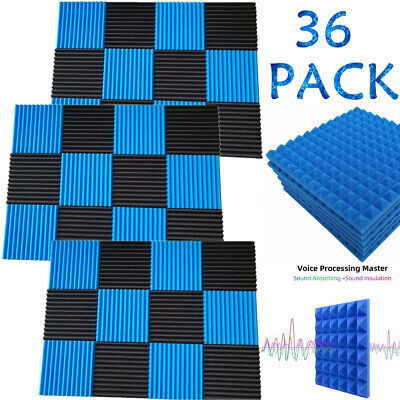 "36 Pack Acoustic Foam Panels 1""x12""x12"" Studio Soundproofing Pyramid Wall Tiles"