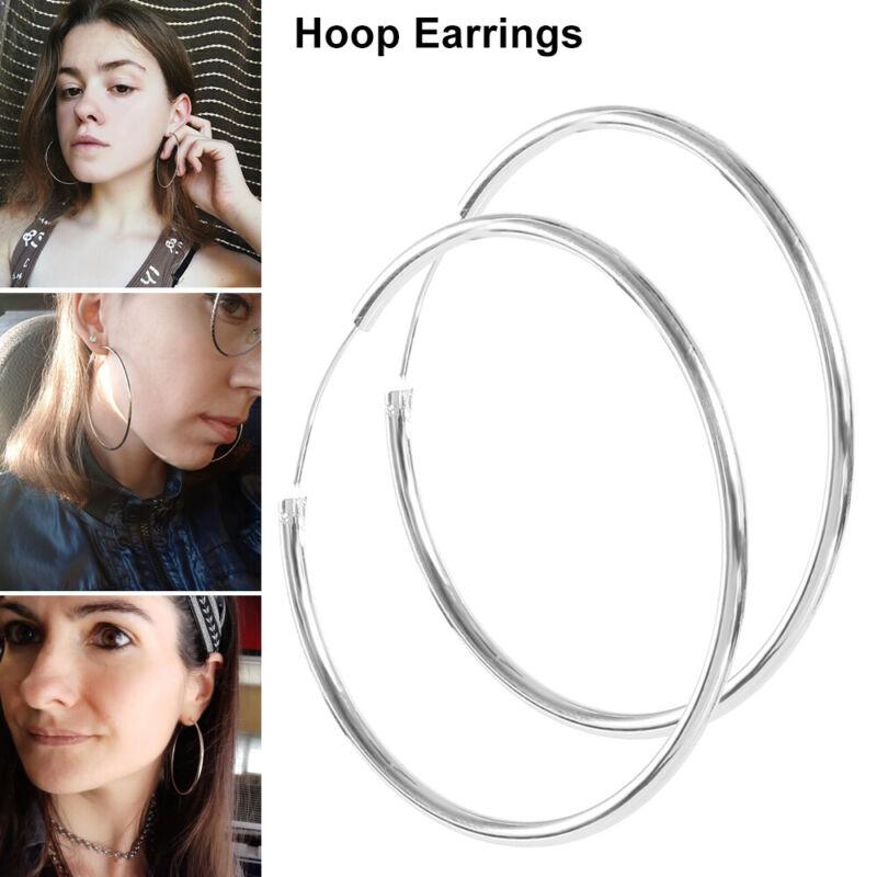 925 Sterling Silver Hoop Earrings Large Hooped Sleeper 50mm