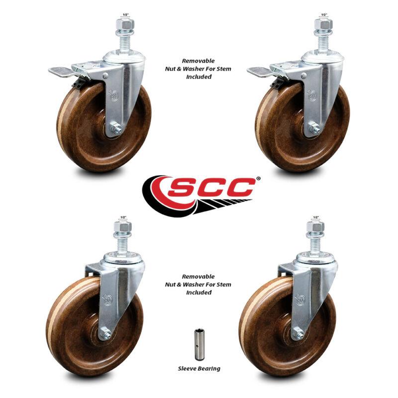 "High Temp Phenolic Swvl TS Caster Set 4 - 6"" Wheel&1/2"" Stems - 2 w/TTL BRK"