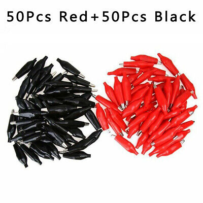 100pcs Alligator Lead Clips Crocodile Wire Clamp Test Probe Cable Black Red 36mm
