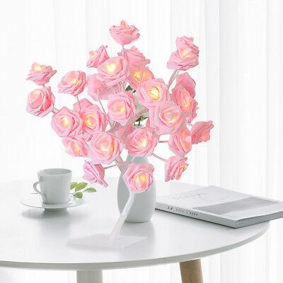 Led Flowers (Romantic LED Rose Flowers Tree Light Fairy Lamp Table Party Garland Decor)