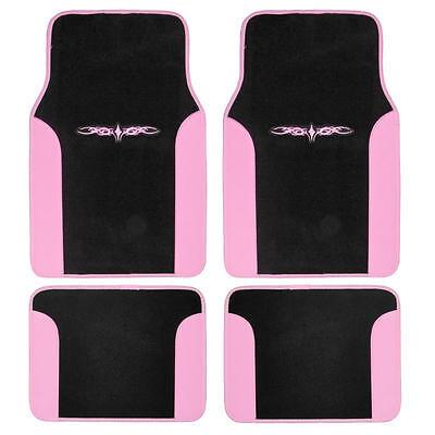 4 Piece Tattoo Design Floor Mats for Car SUV 2 Tone Pink Black - Ranger Tattoo
