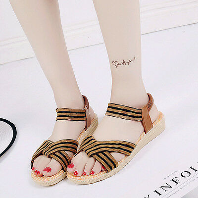 Women Flat Shoes Striped Pleated Cross Bandage Bohemia Leisure Sandals Peep-Toe