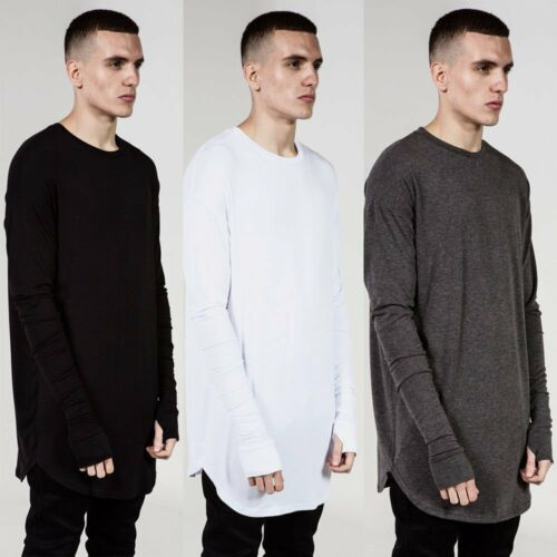 Hipster Mens Thumb Hole Cuffs Long Sleeve T Shirt Basic Tee Hip Hop Clothes