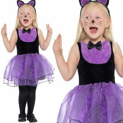 Kleinkind Kinder Katzenkostüm Lila Kitty Mädchen Halloween Kostüm Alter 1-4