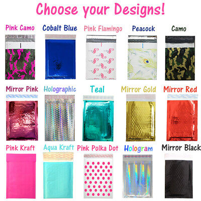 6x10 METALLIC BUBBLE MAILER, POLY Design Padded Shipping Envelope Bags,Pink,Teal
