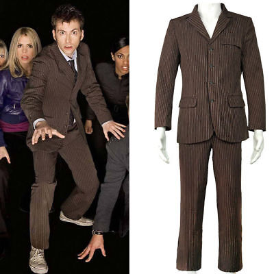Doctor Who Dr Brown Cosplay Pinstripe Business Suit Halloween Men'S  - Business Suit Halloween Costumes