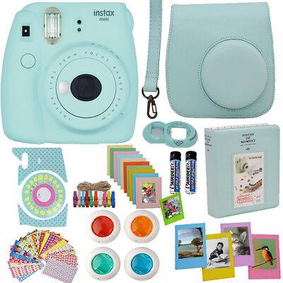 Fujifilm Instax Mini 9 Time Camera Ice Blue + Case + Album + More Acc Fardel
