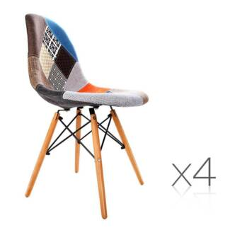 4 x Replica Eames Eiffel DSW Dining Chair Retro Beech Fabric Ca