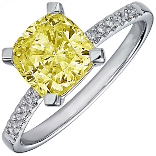 Fancy Yellow GIA Certified 1.75 CTW Cushion Cut Diamond Engagement Ring Platinum