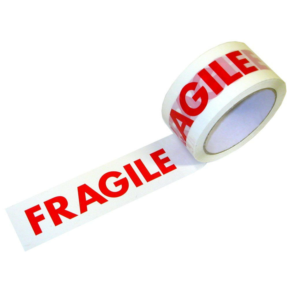 """FRAGILE HANDLE WITH CARE TAPE   50MM 2/""""X 66M PRINTED PACKING PARCEL  BOX SEALING"""
