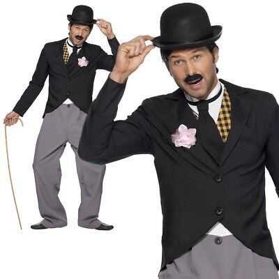 Charlie Chaplin Costumes (Mens Charlie Chaplin Costume 1920s Silent Movie Star Fancy Dress Outfit)