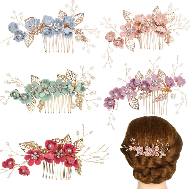 Bridesmaid Hair Jewelry Flower Hair Pin Leaves Tiara Bridal