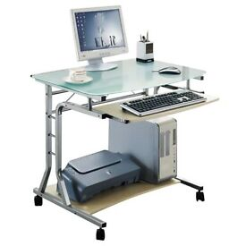 Mobile Computer Desk - PC Workstation - Office Desk - Maple -SixBros- CT-3791A/41